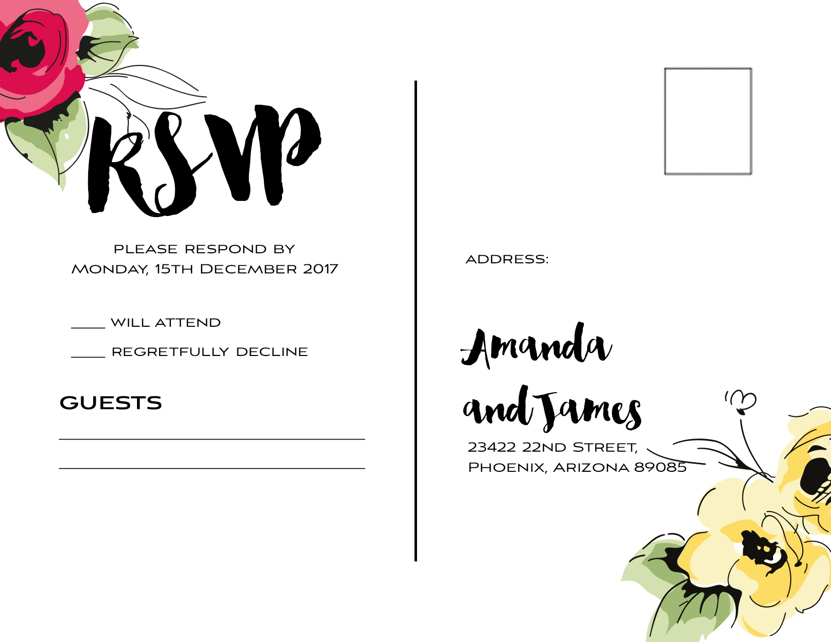 Wedding kit rsvp postcard template  3